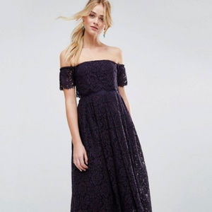 ASOS | Off The Shoulder Lace Midi Dress in Navy